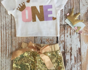 Pink purple and gold birthday outfit / Baby girl birthday outfit / Pink and gold birthday outfit/Purple and gold birthday outfit/Princess