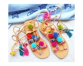 Size 36 Sandals boho style,pom poms sandals, greek sandals, leather sandals, gladiator sandals, boho sandals