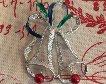 "GERRY'S Silver Open ""Christmas Bells"" Vintage Brooch"