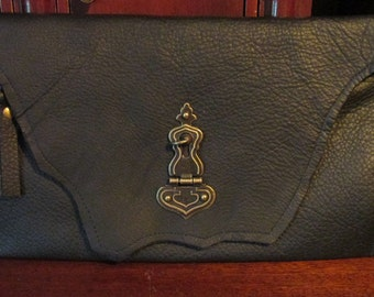 Steampunk Leather Clutch Accessory Black Zipped Riveted Clutch -- The Door Keeper