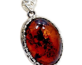 Natural Baltic Amber & .925 Sterling Silver Pendant , Z782