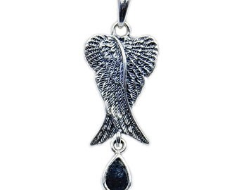 Rare Volcanic Lava Rock & .925 Sterling Silver Angel Wings Pendant, Ad606