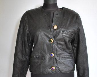 Vintage LEATHER JACKET , women's black leather jacket ...(019)