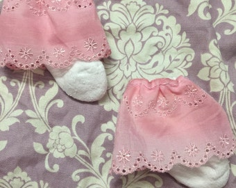 Baby girl 6-12 month pink eyelet socks. Shabby chic dressy special occasion photo prop