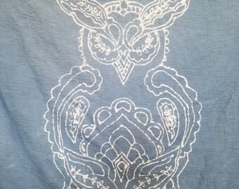 Sweet and Wise Batik Dyed Blue Owl Swaddle Blanket