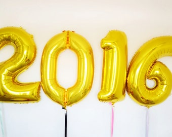 "33'' Jumbo Number ""2016"" Gold Foil New Years Eve Celebration Balloons"