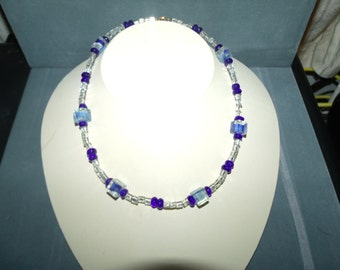 """Clear and Blue glass cubes necklace 15"""" A KP design"""