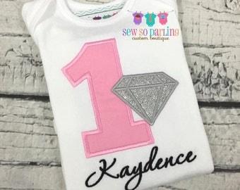 Pink Diamond Birthday Shirt - Baby Girl 1st Birthday Diamond Shirt - Gems Birthday Outfit - Diamond Birthday Outfit