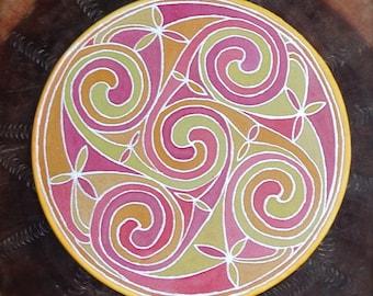 Green Celtic circle mandala on silk, No 0143 15 cm Ø 6in