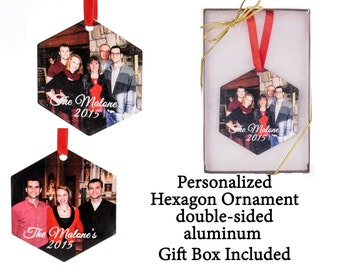 Custom Photo Ornament - Hexagon Ornament - your photo turned into a unique gift - 2 sided