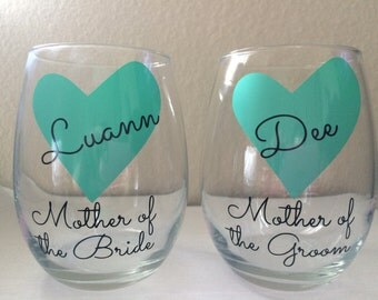 2 Personalized Mother of The Bride Gift, Mother of the Groom Wine Glass,Mint Mother of Bride Gift,Mint Mother of the Groom Gift