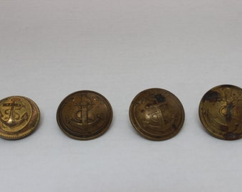 Set of 4 Brass French Naval buttons from Paris, France / French Militaria buttons / set of Naval buttons / French Navy / Brass anchor French