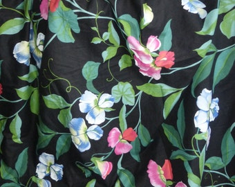Vintage 1980s French cotton fabric colourful sweetpea flowers black background