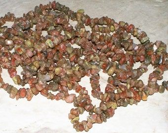 Autumn Jasper Gemstone Chip Strand - 16""