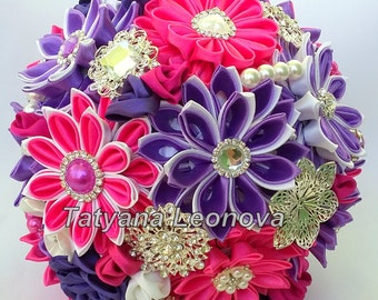 Brooch Bouquet Fabric Wedding White BouquetFuchsia And Purple