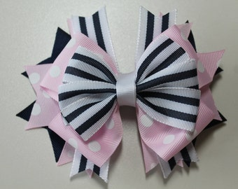 Pink, Navy and White Spring Summer Boutique Nautical Hair Bow