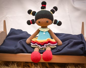 African American Little Girl Doll Stuffed Toy (Made to Order) Can get in other clothes/colors