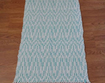 Handwoven Cotton Rug Turquoise Blue & White