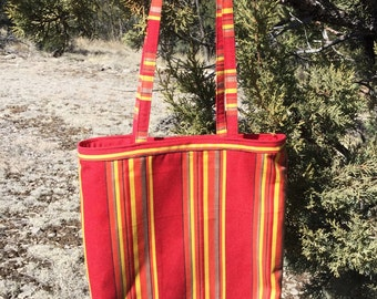 Red and Yellow Striped Tote Bag, Fabric Tote, School Bag, Book Bag, 13x14 inch Market Bag, Shoulder Carryall Item TB09