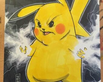ORIGINAL ART, Pikachu from PokeMon by artist Tom Hodges