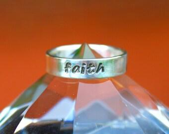 """Handmade Sterling Silver """"faith"""" Ring (Segoe Font)"""