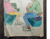 "Scene On a Bus  Rare Original, unframed,  1940's    17.75"" x 14.5""  on old sketch pad paper.   Masking tape on back."