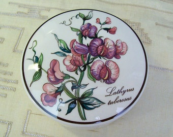 Vintage VILLEROY & BOCH Botanica Covered Trinket Box – Lathyrus Tuberosus - Luxembourg – Porcelain – Candy Dish – Humana -