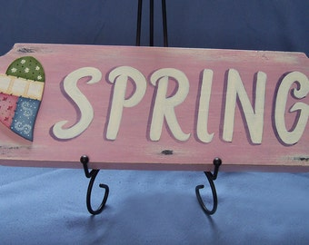 Shabby Chic Spring Decor Sign with Painted Quilt Heart
