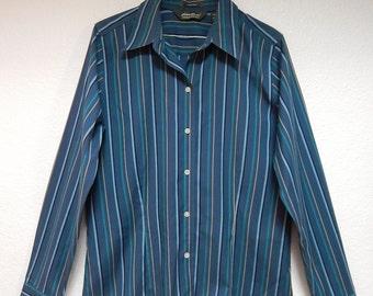 "Eddie Bauer 40"" Bust Womens M Stretch Long Sleeve Stripe Shirt - Teal Blue Green Black"