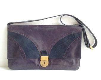 Borsa vintage in pelle, forma rettangolare, tracolla removibile / Vintage bag . Shoulder bag