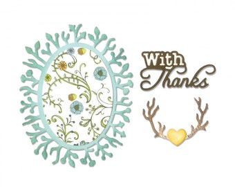 Sizzix Thinlits Die Set 5PK - Phrase, With Thanks & Frame by Jen Long 661134