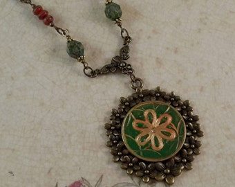 Crystal Clay Pendant with Czech Glass