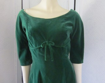 RESERVED for Maria 1950s Suzy Perette Emerald Green Velvet Dress, Size 4 - 6