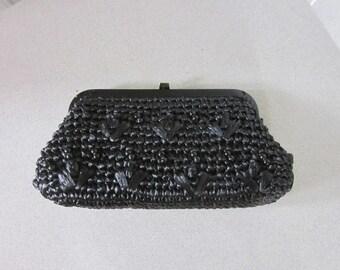 1960s Black Raffia Clutch with Black Beads