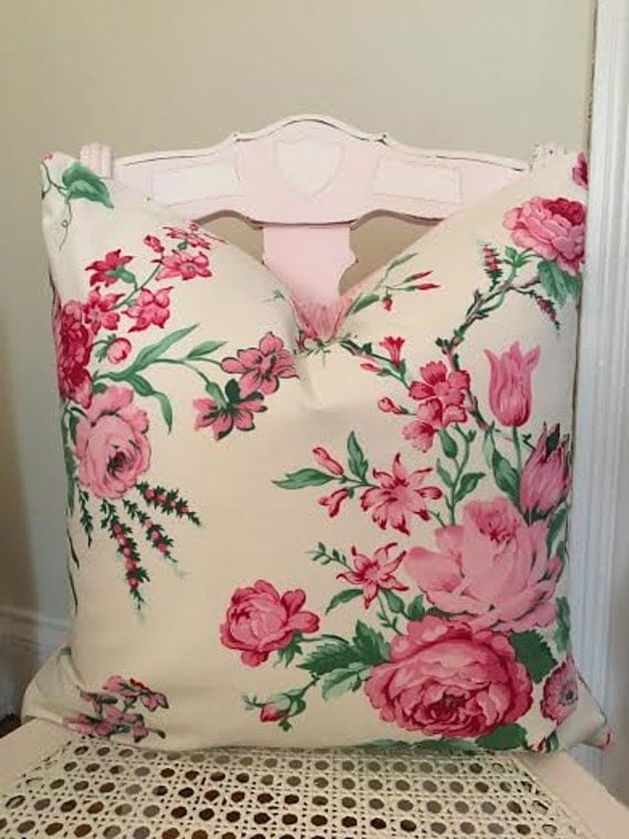 Shabby Chic Pillow Cover Pink Floral Pillow Cover Pink and