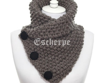 The Boston Cowl Hand Knit Bulky Dark Mink Knitted Cowl Woman Man Fall Winter Accessory Chunky Neckwarmer 3 Button Cowl Christmas Gift Idea