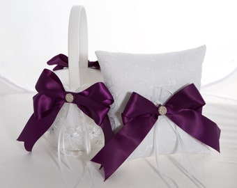 Plum Flower Girl Basket and Ring Bearer Pillow Set- More Colors Available