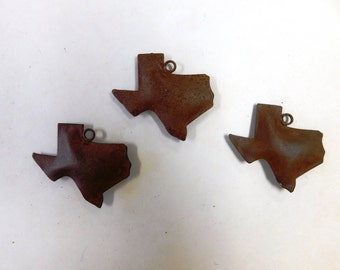 3D Texas Charms made out of rusted metal set of three (3)