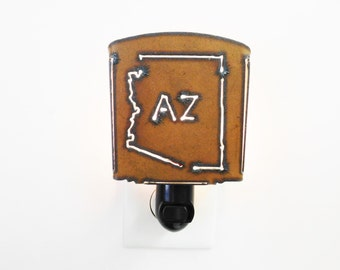 Arizona with AZ Night Light made out of rusted recycled rusty metal