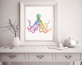 Octopus Print - Watercolor Octopus - Octopus Art - Octopus Watercolor Art - Nautical Decor - Octopus Wall Art - Watercolor Prints