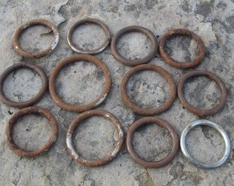 Lot of 12 Old Harness Rings , Rusty Art Supplies , Salvaged and Repurposed