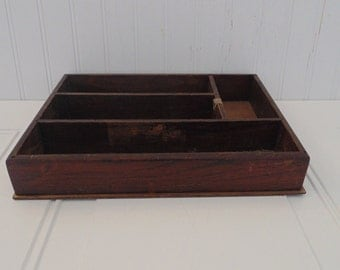 Vintage Wooden Tray Desk Tray Office Storage Divided Wood Tray