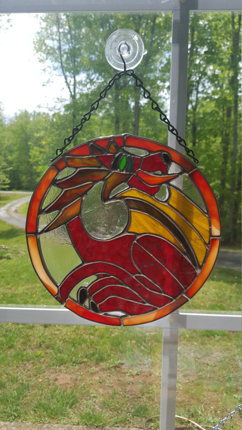 Red Stained Glass : Stained glass red fire breathing dragon