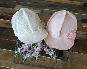 SALE newborn girl baseball cap, newborn baseball hat,  newborn girl photo prop, pink newborn girl hat,  baby girl photo prop