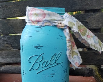Blue Shabby Chic Mason Jar, Painted Mason Jar, Wedding, Baby Shower
