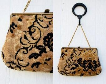 VINTAGE 1960s Verdi Floral Tapestry Purse | Ethnic Carpet Bag | Top Clasp Clutch | 60s Evening Bag | Gold Chain Purse | Art Deco Clutch