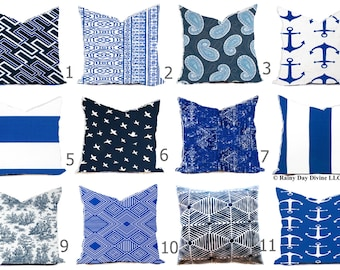 Outdoor Pillows Cover or Indoor Custom size include 16x16 18x18 - Navy Blue Cobalt Marine Royal White Modern Geometric Native Tribal World