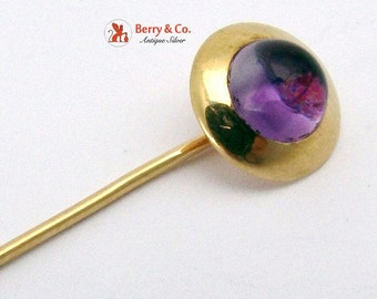 SaLe! sALe! Vintage 14 K Gold Stick Pin Glass Amethyst