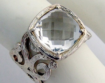 SaLe! sALe! Checkers Board Chrystal Ring Scroll Sterling Silver