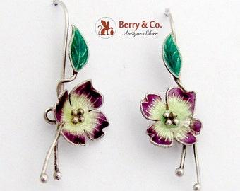 Vintage Enamel Flower Earrings Sterling Silver